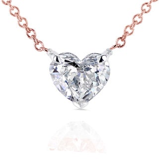 Annello 14k Rose Gold Floating Heart Certified 3/4ct Diamond Solitaire Necklace (G-I, I1)