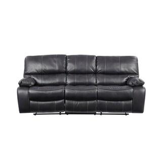 Grey Leather Reclining Sofa