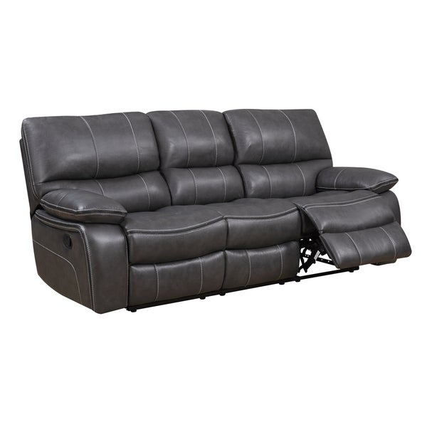 Shop Grey Leather Reclining Sofa Free Shipping Today Overstock