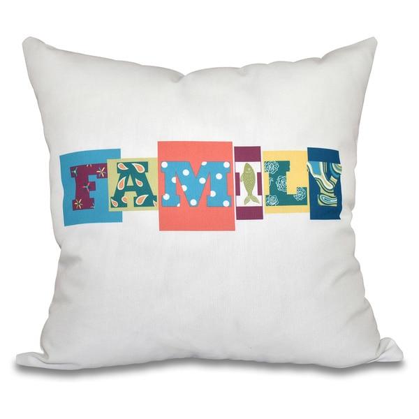 Family Fun Word Print 20-inch Throw Pillow