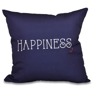 Nautical Happiness Word Print 20-inch Throw Pillow