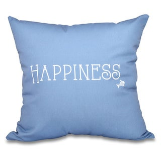 Coastal Happiness Word Print 20-inch Throw Pillow