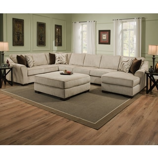 Simmons Upholstery Kingsley Beige Large Sectional And Ottoman