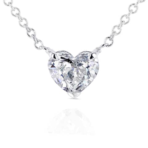 Annello by Kobelli 14k White Gold Floating Heart Certified 1/2ct Diamond Solitaire Necklace