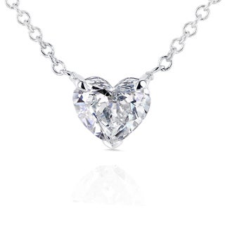 Annello 14k White Gold Floating Heart Certified 1/2ct Diamond Solitaire Necklace (G-I, I1)