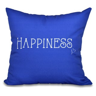 Happiness Word Print 20-inch Throw Pillow