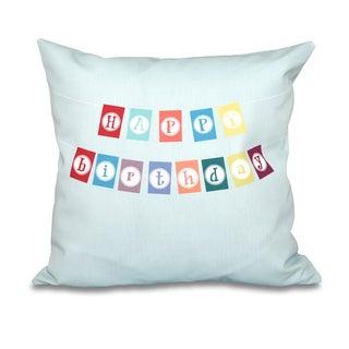 Happy Birthday Word Print 20-inch Throw Pillow