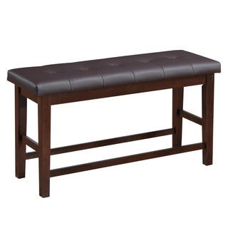 CorLiving Chocolate Brown Bonded Leather Counter Height Dining Bench