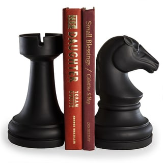 Danya B Chess Rook vs Knight Bookend Set - Black