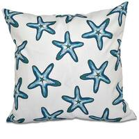 Soft Starfish White Geometric Print 18-inch Throw Pillow