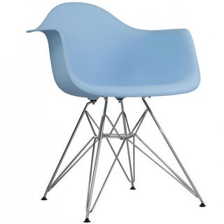Contemporary Retro Molded Style Blue Accent Plastic Dining Armchair with Steel Eiffel Legs