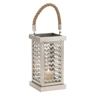 Bay Collection Chevron Stainless Steel Candle Holder Lantern