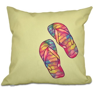 Rainbow Flip Flops Geometric Print 18-inch Throw Pillow