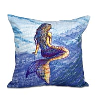 Mermaid Geometric Print 18-inch Throw Pillow