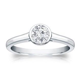 Auriya 18k Gold 1/3ct TDW Round-cut Diamond Solitaire Bezel Engagement Ring (H-I, VS1-VS2)