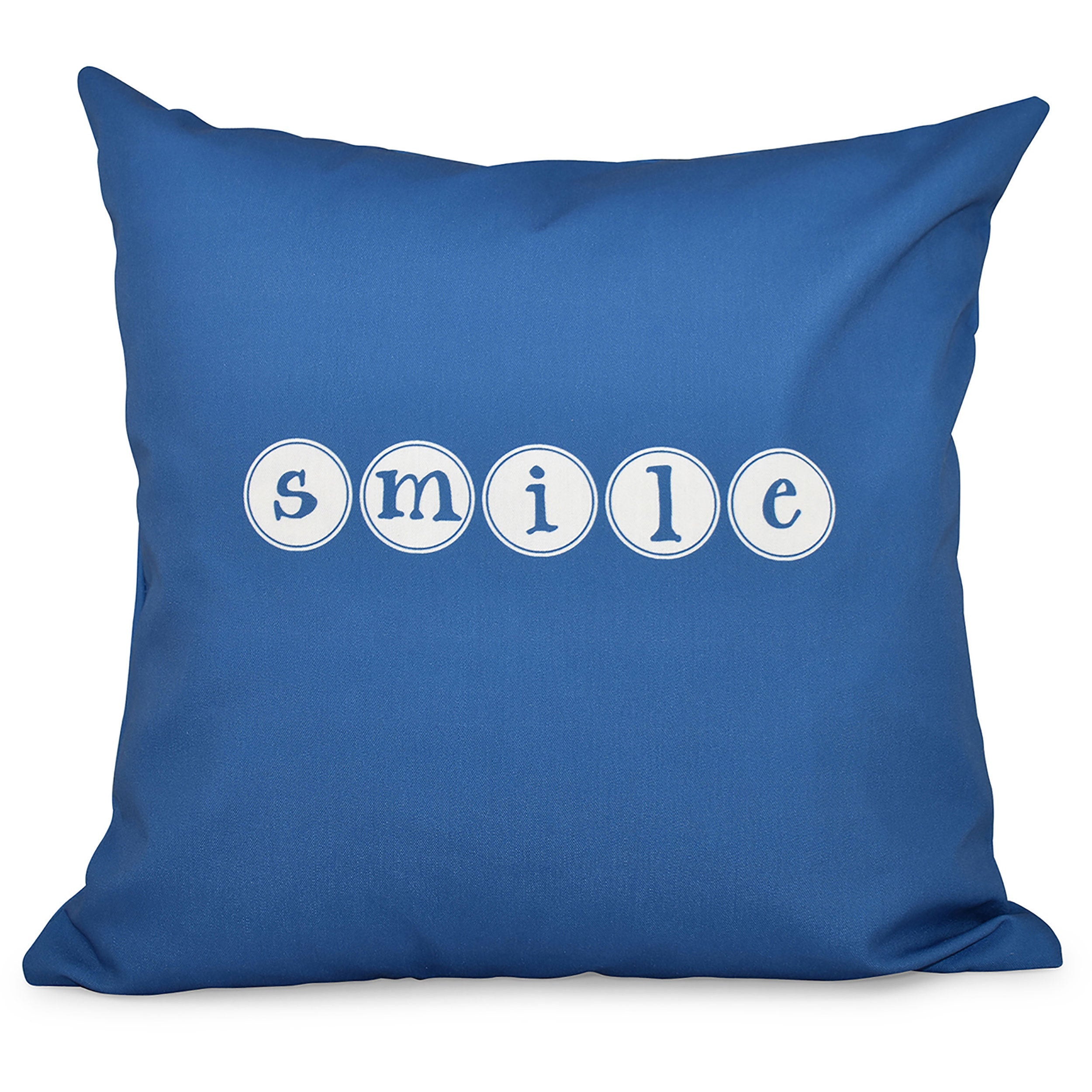 Smile Word Print 18-inch Throw Pillow (Yellow)