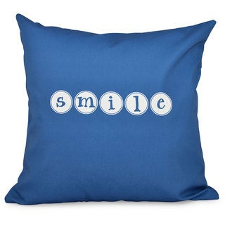 Smile Word Print 18-inch Throw Pillow