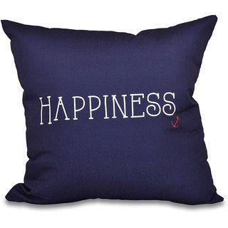 Nautical Happiness Word Print 18-inch Throw Pillow
