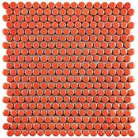 SomerTile 11.25x11.75-inch Galactic Penny Round Orange Porcelain Mosaic Floor and Wall Tile (10 tiles/9.38 sqft.)