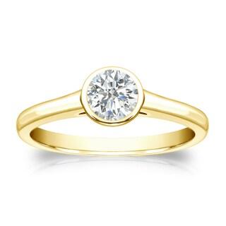 Auriya 18k Gold 1/3ct TDW Round-cut Diamond Solitaire Bezel Engagement Ring (I-J, SI1-SI2)