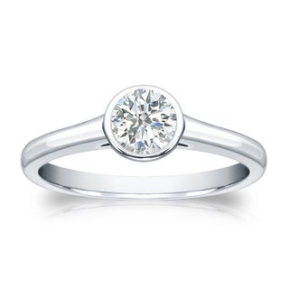 Auriya 18k Gold 1/3ct TDW Round-cut Diamond Solitaire Bezel Engagement Ring (I-J, SI2-SI3)