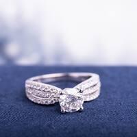 Miadora 14k White Gold 2ct TDW Multi-row Diamond Engagement Ring