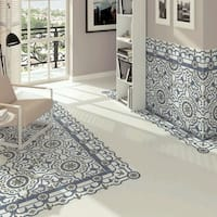 SomerTile 9.75x9.75-inch Hidraulic Blanco Porcelain Floor and Wall Tile (16 tiles/10.76 sqft.)
