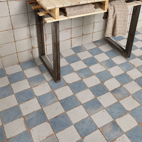 SomerTile 13x13 inch Artesano Damero Azul Ceramic Floor