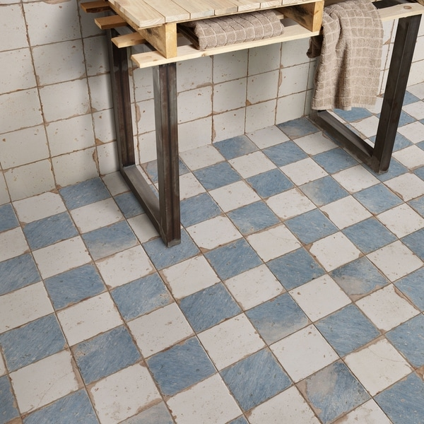 Shop Somertile 13x13 Inch Artesano Damero Azul Ceramic Floor And