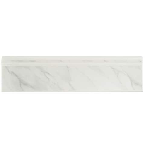 "SomerTile Battiscopa Satin White Marble 3.25"" x 12.38"" Ceramic Wall Trim Tile - CASE"