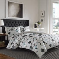 City Scene Jackson Grey and Aqua Cotton Duvet Cover Set