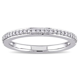 Miadora 14k White Gold 1/6ct TDW Diamond Semi-Eternity Wedding Band (G-H, I1-I2)