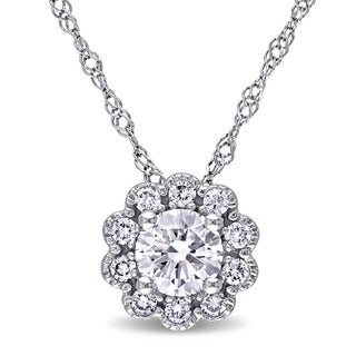 Miadora 14k White Gold 1/2ct TDW Diamond Flower Necklace (G-H, SI1-SI2)