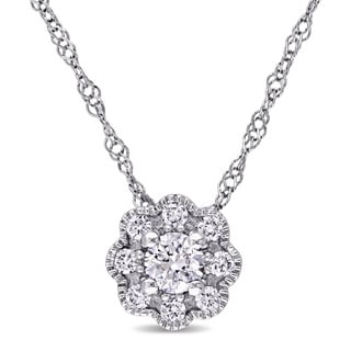 Miadora 14k White Gold 1/4ct TDW Diamond Flower Necklace (G-H, SI1-SI2)