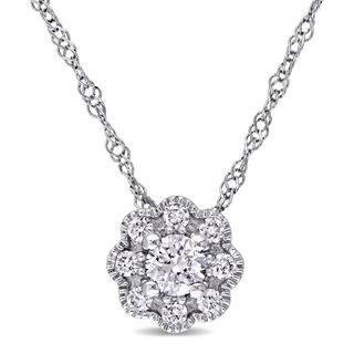 Miadora 14k White Gold 1/4ct TDW Diamond Flower Necklace https://ak1.ostkcdn.com/images/products/11483328/P18437710.jpg?impolicy=medium