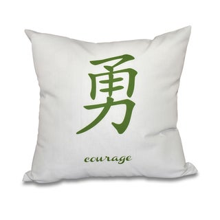Courage Word Print 18-inch Throw Pillow (Green)
