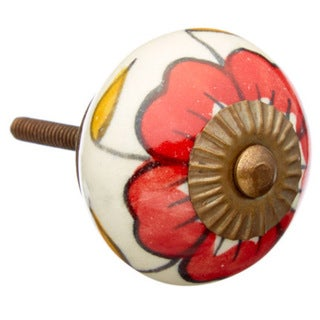 Big Red Flower Ceramic Drawer/ Door/ Cabinet Knob (Pack of 6)