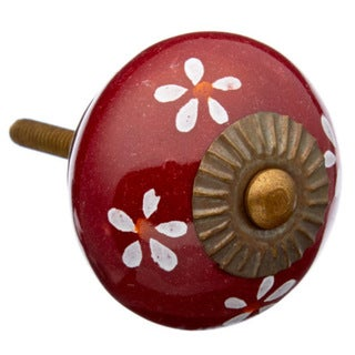 Maroon Colored with Flowers Ceramic Drawer/ Door Knob (Pack of 6)
