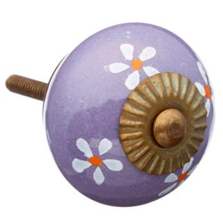 Purple Colored with Flowers Ceramic Knob (Pack of 6)