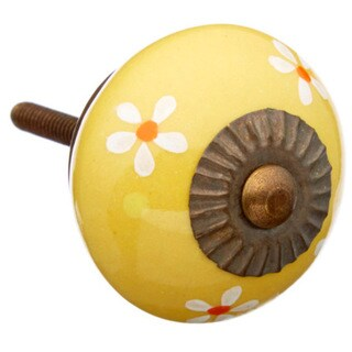 Mustard Colored with Flowers Ceramic Knob (Pack of 6)