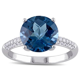 Miadora 14k White Gold London Blue Topaz and 1/5ct TDW Diamond Cocktail Ring