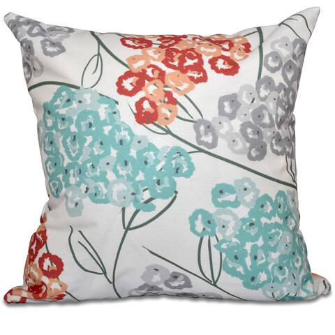 Hydrangeas Floral Print 16-inch Throw Pillow