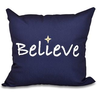 Believe Word Print 18-inch Throw Pillow