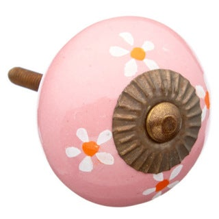 Pink Colored with Flowers Ceramic Knob (Pack of 6)