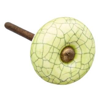 Lime Crackle Ceramic Drawer/ Door/ Cabinet Knob (Pack of 6)