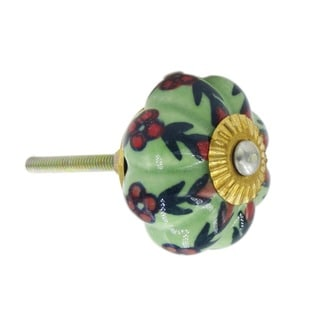 Green with Small Red Flowers Drawer/ Door Knob (Pack of 6)