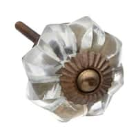 Clear Vintage Melon Glass Drawer/ Door/ Cabinet Knob (Pack of 6)
