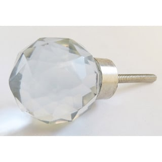 Round Diamond Cut Glass Drawer/ Door/ Cabinet Knob (Pack of 6)