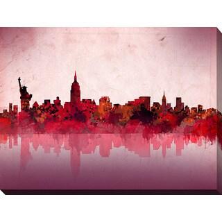 Bekim Mehovic 'New York Skyline Red' Giclee Print Canvas Wall Art