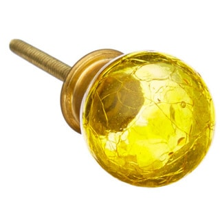 Yellow Cracked Look Glass Drawer/ Door/ Cabinet Knob (Pack of 6)